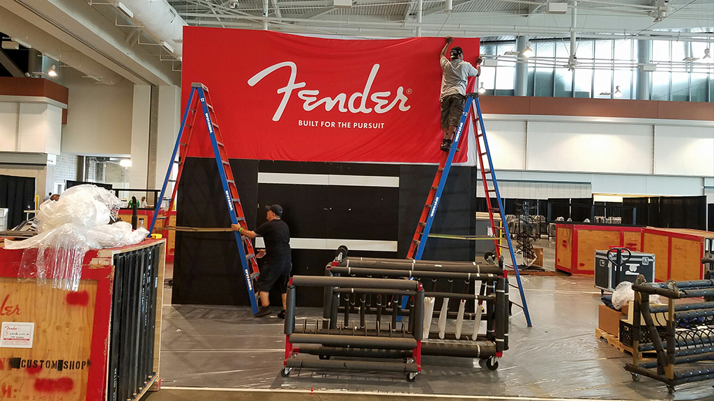 Setting up the Fender Summer NAMM Show